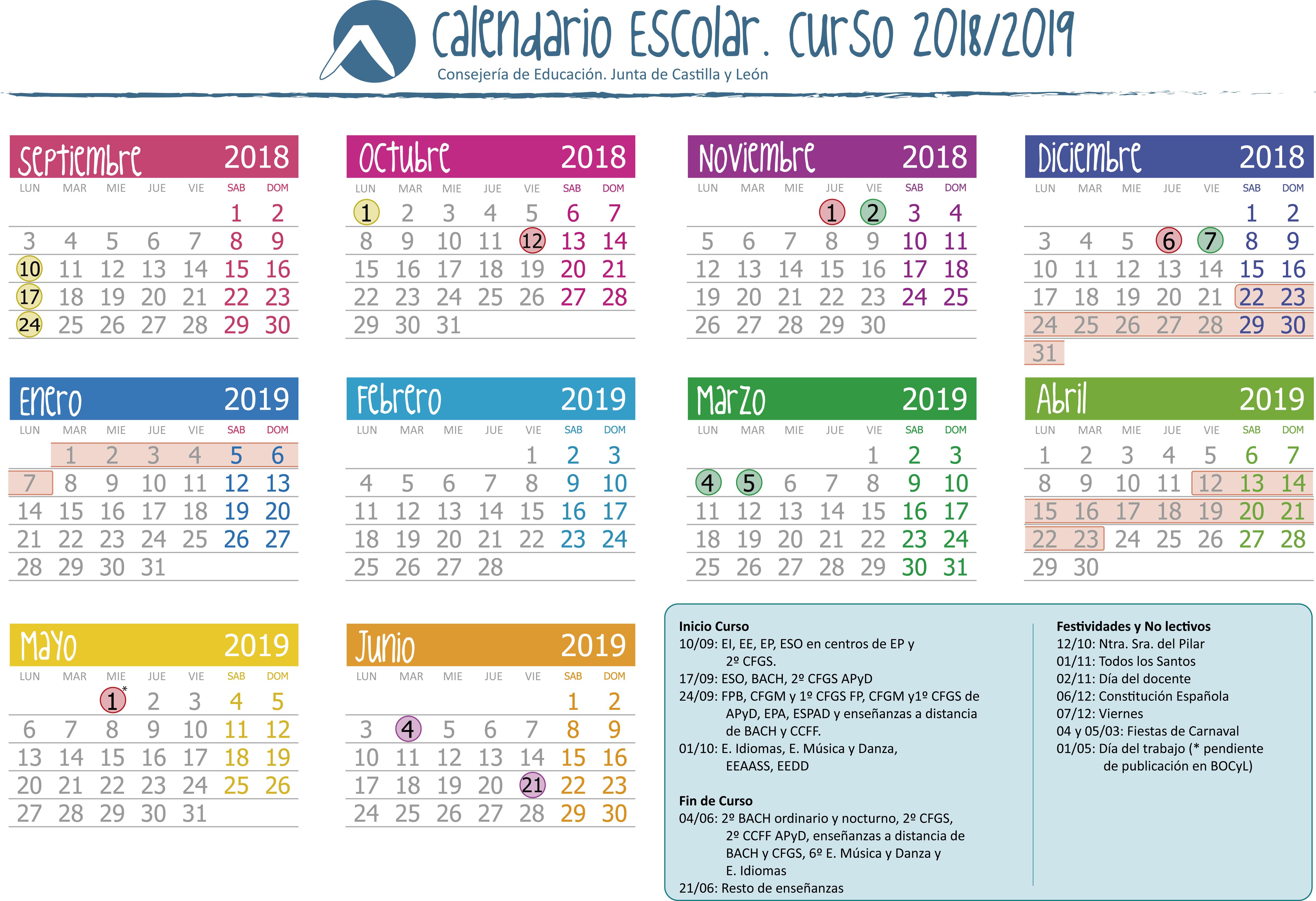Calendario Laboral 2019 Valladolid Pdf.Calendario Escolar Valladolid 2020